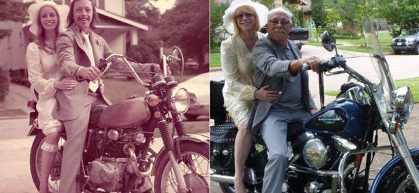 40 anos depois, casal recria fotos do matrimônio