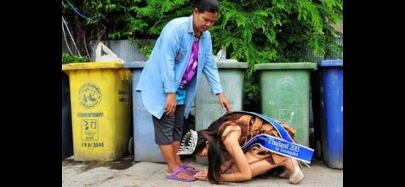 Por que uma miss se ajoelharia diante de uma catadora de lixo?