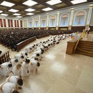 Levites kneel down before the Altar of the Temple